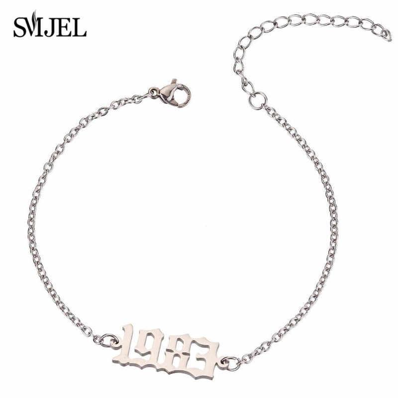 Smjel aço inoxidável data especial número do ano pulseira feminina moda jóias punk masculino braçadeira 1980 a 2000 pulseras mujer bijou