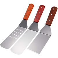 BBQ Turner Stainless Steel Spatula Set with Wood Grill and BBQ Set (3 Pieces)