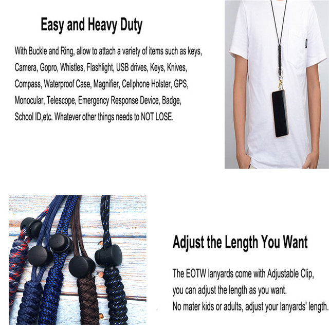 Lanyard for phone Military Grade Utility Necklace Lanyard Keychain Whistles Cord Wrist Strap with Metal Hook for Outdoor 5