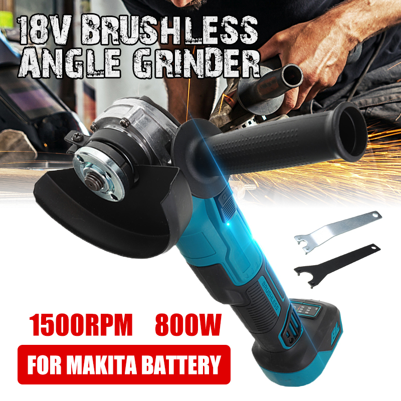 18V 800W Brushless Impact Angle Grinder Electric Cordless Polishing Grinding Machine Rechargeable Power Tools For Makita Battery
