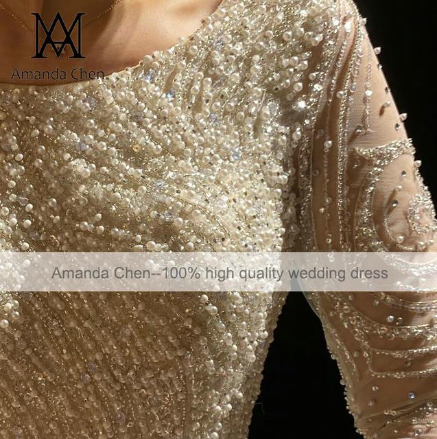 Luxury Lace Rhinestone Crystal Beading Handwork Wedding Dress 2022 3