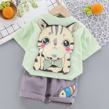 Ropa de verano de niño de dibujos animados de líder de oso, Conjunto de camiseta de 4 colores, ropa de niños cortos, camisa de manga corta, trajes de niños