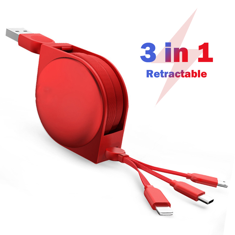 3 in 1 Micro USB/Type C/8 Pin for iPhone XS Max X 8 7 USB Retractable Charge Cable for Xiaomi Huawei 2 in 1 Length Adjustable|Mobile Phone Cables|   - AliExpress