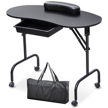 Portable Manicure Table Nail Desk with Carry Bag Spa Beauty Salon Equipment Folding Manicure Table Desk White Black