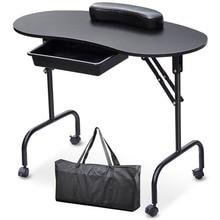Portable Manicure Table Nail Desk with Carry Bag Spa Beauty Salon Equipment Folding Manicure Table Desk White Black