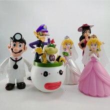 Super mario bros príncipe bowser princesa pêssego pvc ação brinquedo figura collectible fantoches modelo brinquedos para crianças presentes de aniversário