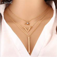 X-ROYAL DIY Originality Women Classic Multi 4 Layers Necklaces Vintage Style Star Stripe Round Tag Pendant Charm Necklace Choker