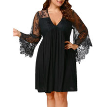 Stylish Bar Women Autumn Baggy Dress Sheer Lace Sleeve High Low Lace Deep V-Neck Dress Casual Party Dresses Plus Large Sizes 5XL(China)