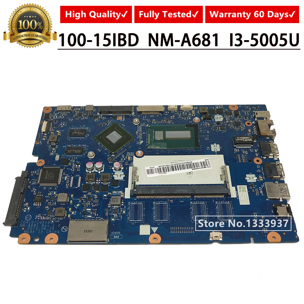 CG410/CG510 NM-A681 5B20K25385 Notebook for Lenovo 100-15IBD Laptop Motherboard with <font><b>SR27G</b></font> I3-5005U mainboard image