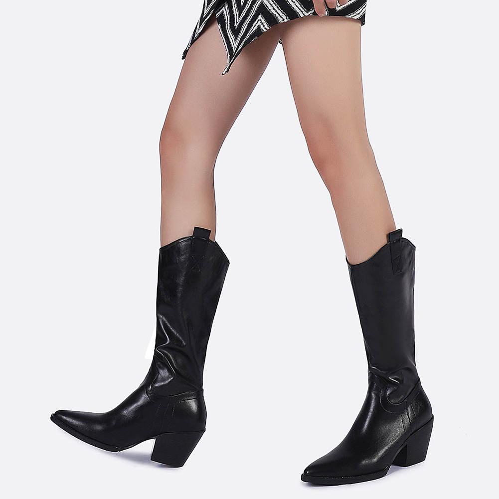 SARAIRIS 2020 Brand Plus Size 46 Fashion Top Quality Shoes Woman Boots Female Shoes Slip On Western Cowboy Boots Shoes Women