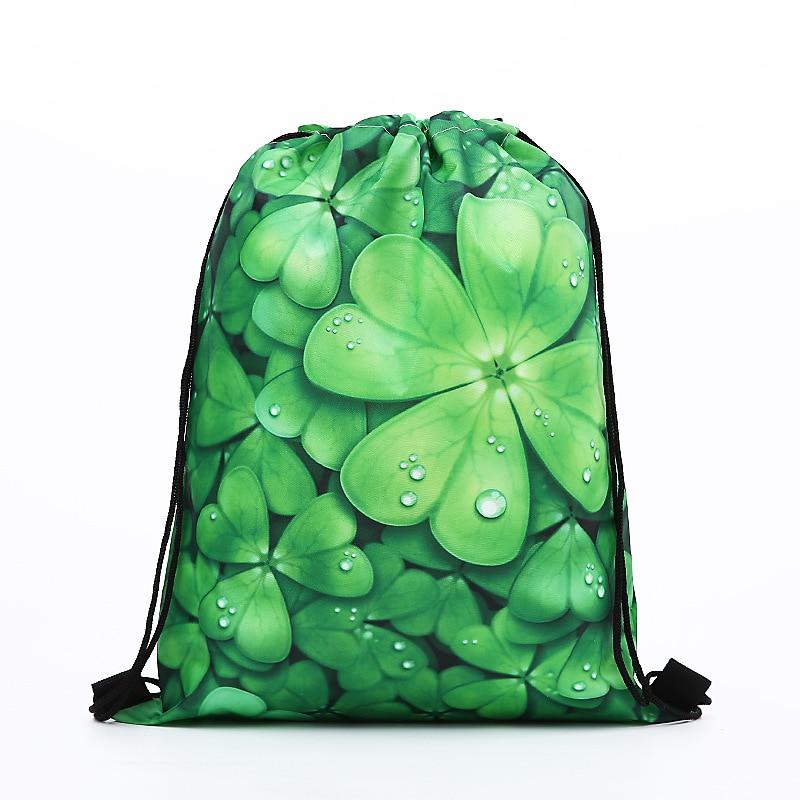 Drawstring Backpack Fashion Women Printing Clover Travel Softback Men Drawstring Bags Unisex Women's Shoulder SHOPPING Polyeste