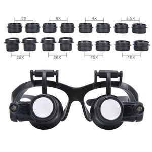 Image 4 - 2.5X 4X 6X 8X 10X 15X 20X 25X Multi Power Double LED Lights Magnifier Eye Glasses Watch Repair Loupe Jeweler Magnifying Glass
