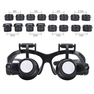 Image 4 - Loupe multipuissance 2.5X 4X 6X 8X 10X 15X 20X 25X Double LED lumières, Loupe de réparation de montre, Loupe bijoutier