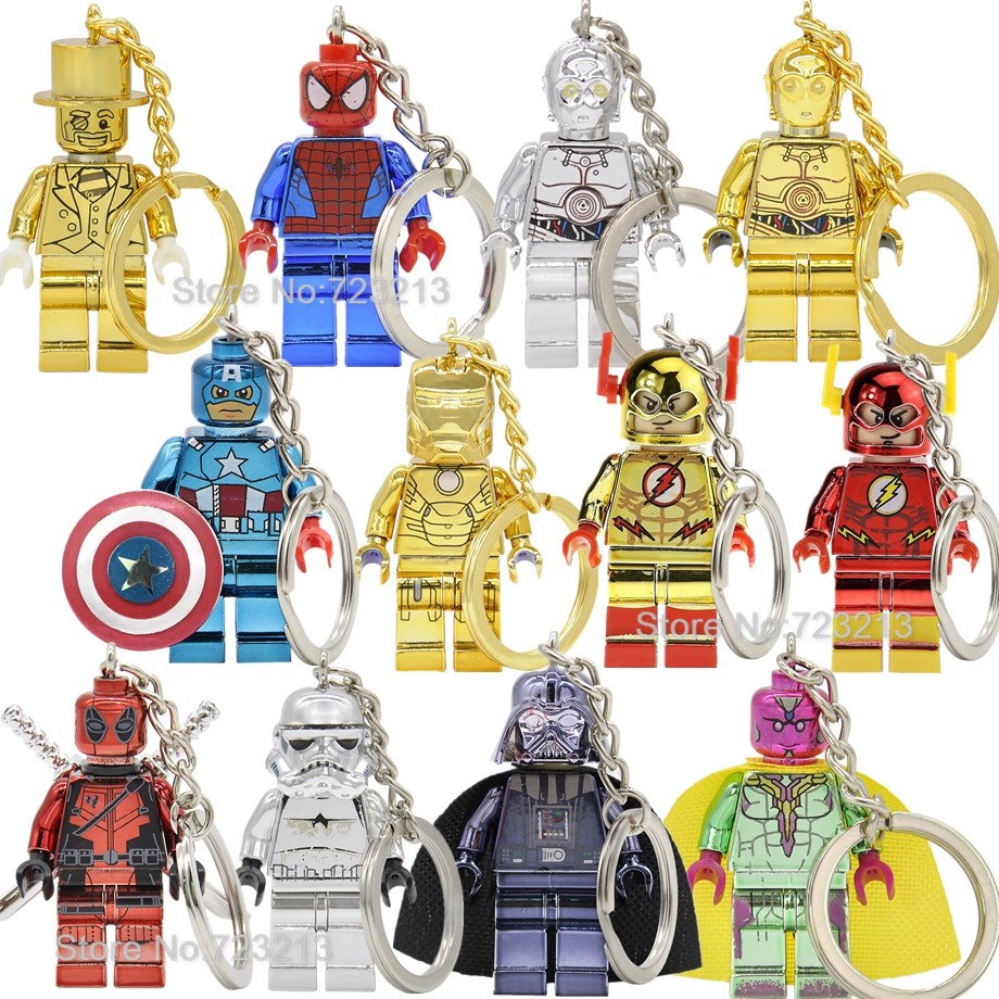 Chrom Figure Keychain Mr Gold Star Wars Spider-man Iron Man Super Hero C3PO Building Blocks Model Bricks Toys Plating Legoing