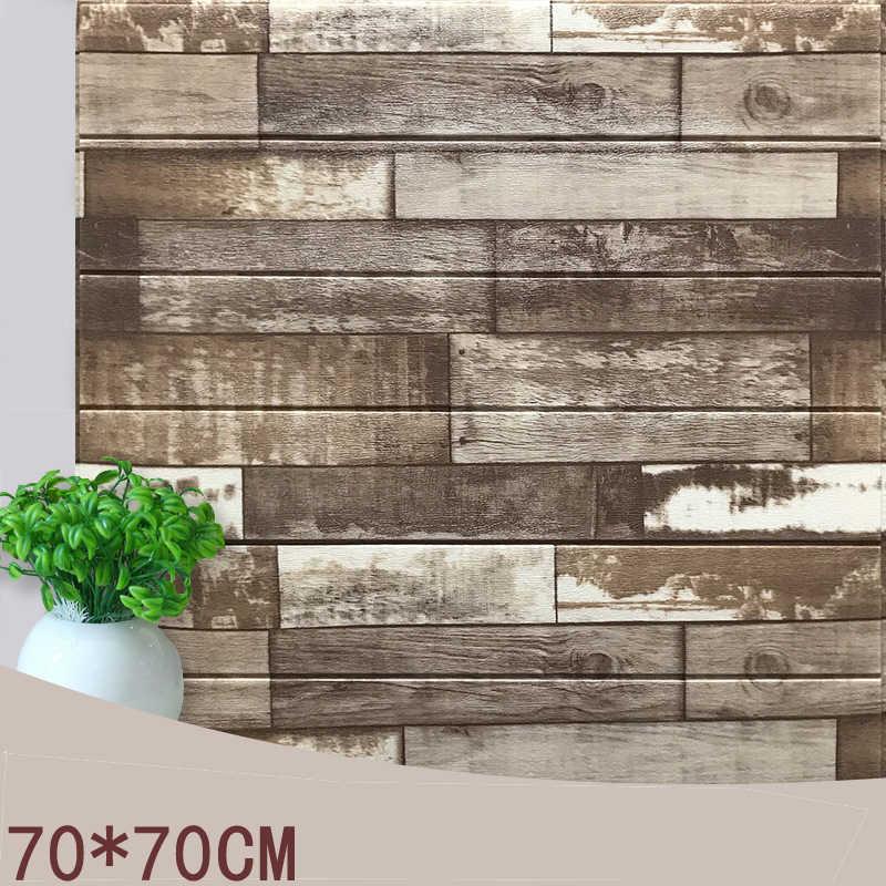 70*70 Mediterania Vintage 3D Kayu Stripes Stiker Dinding DIY PE Busa Perekat Diri Ruang Tamu Kamar Tidur Rumah dekorasi Wallpaper