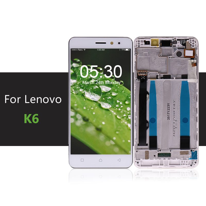 "5"" For Lenovo K6 Power LCD Display Touch Screen Digitizer Assembly With Frame K33a42 k33a48 For Lenovo K6 Screen Free ShippingMobile Phone LCD Screens   -"