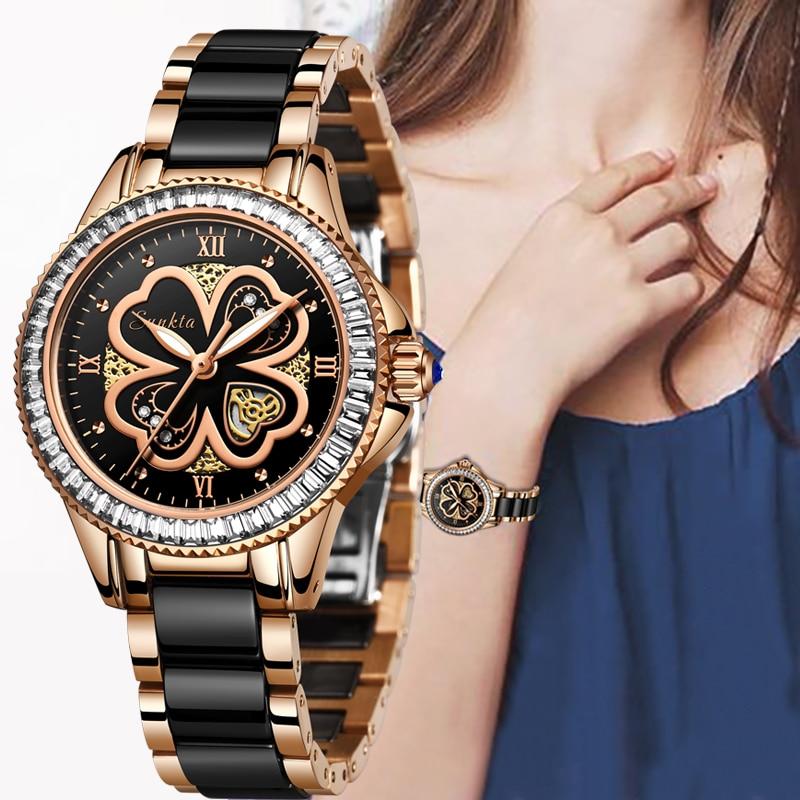 SUNKTA New Rose Gold Watch Women Quartz Watches Ladies Top Brand Luxury Female Wrist Watch Girl Clock Wife Gift Montre Femme