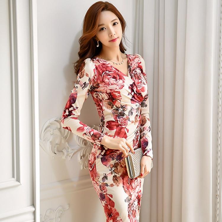 2018 Autumn And Winter New Style Korean-style Debutante Elegant Shirred V-neck Fashion Printed Slim Fit Sheath Dress