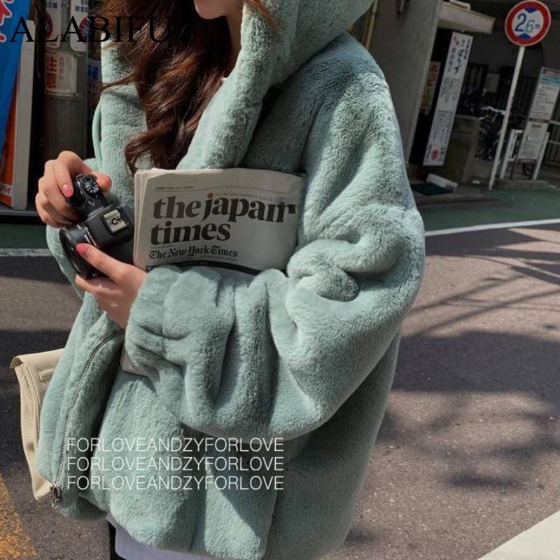 ALABIFU 2019 Fashion Faux Fur Coat Winter Women Casual Hooded Slim Long Sleeve Faux Fox Fur Winter Jacket Women Casaco Feminino