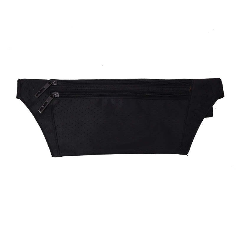 Waist Bag Polyester Closure Belt Black For Men Women