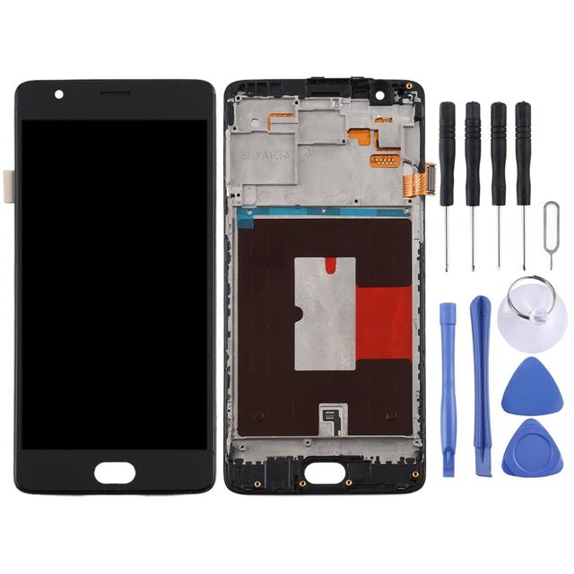 3T A3000 A3010 ZQ House TFT Material LCD Screen and Digitizer Full Assembly with Frame for OnePlus 3 Color : White