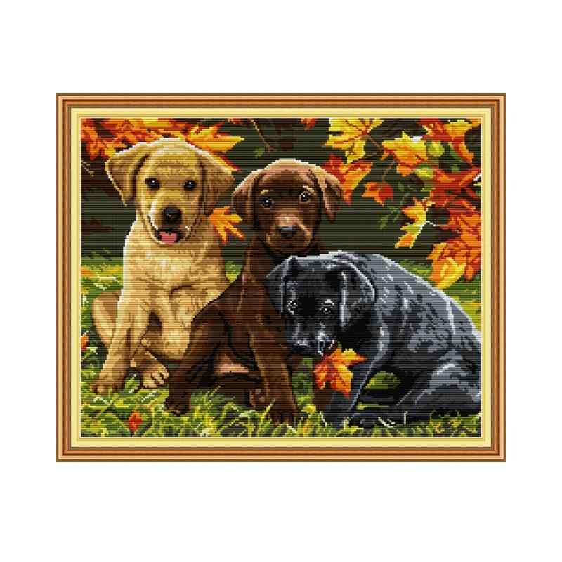 3 犬 5 刻印クロスステッチキットセット diy のハンドメイド刺繍キット 11CT 14CT プリント生地刺繍キット家の装飾