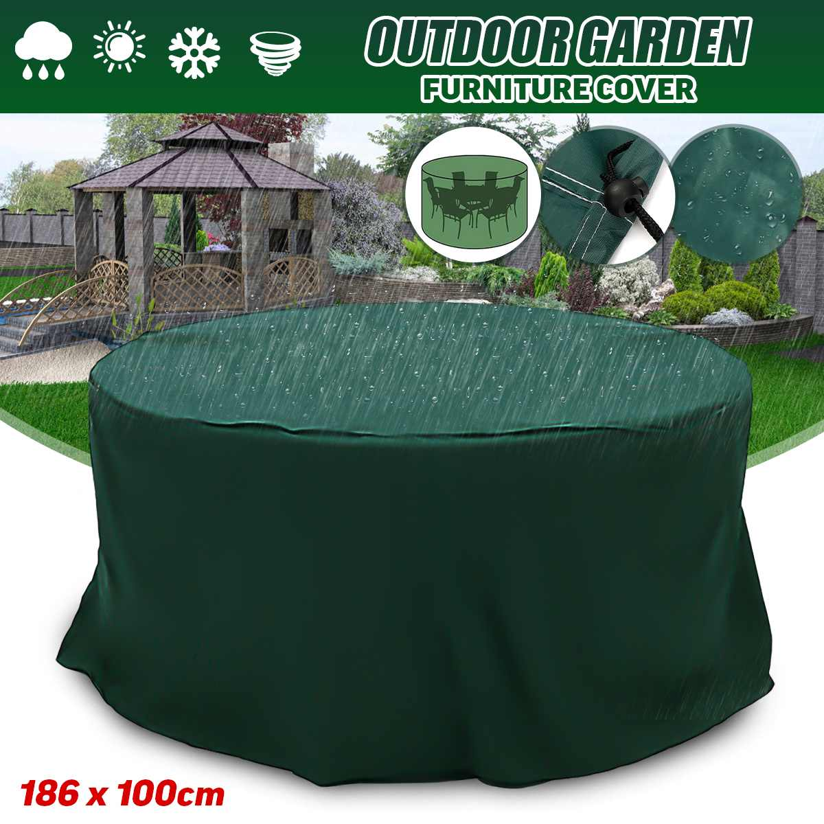 186x100cm Round Furniture Cover Waterproof Dustpoof For Patio Table Chair Covers For Furniture Out Door Garden