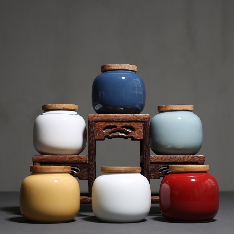 PINNY Mini Ceramic Bamboo Cover Tea Jar Ceramic Pigmented Tea Storage Chinese Kung Fu Tea Accessories Storage Containers in Tea Caddies from Home Garden