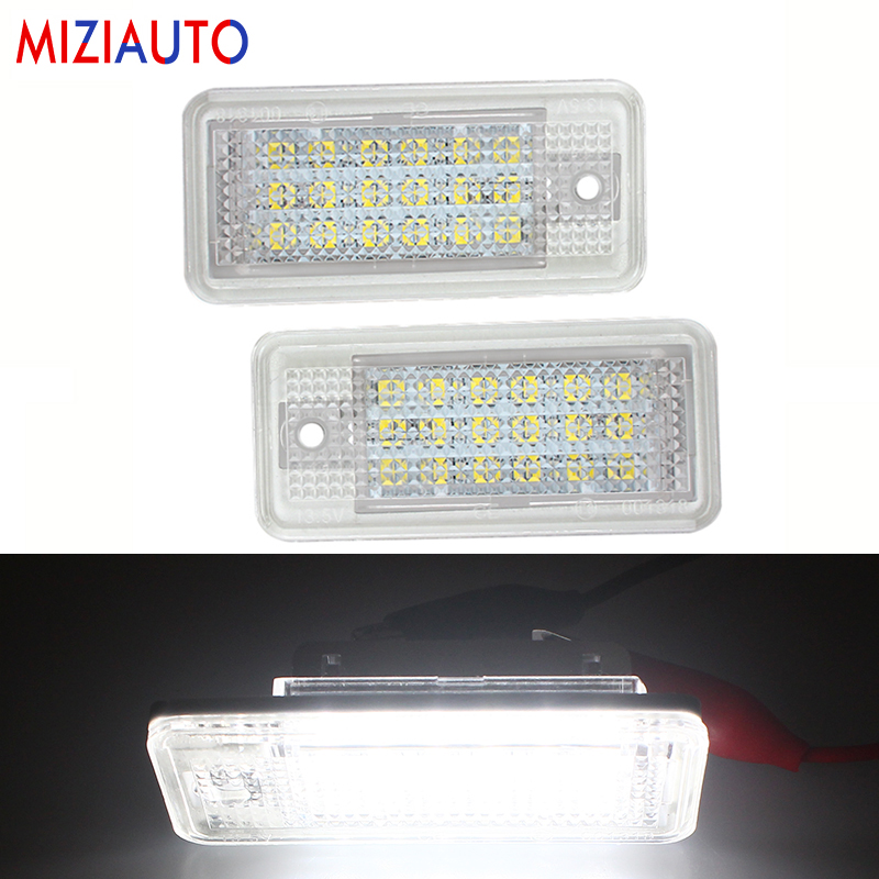 1 Pair Led License Plate Light For Audi A3 8P A4 B6 B7 A5 A6 4F Q7 Car Parts Auto Accessories Number Plate Lamp Warning Light image
