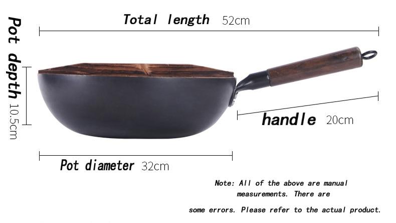 Chinês tradicional ferro wok artesanal grande aço