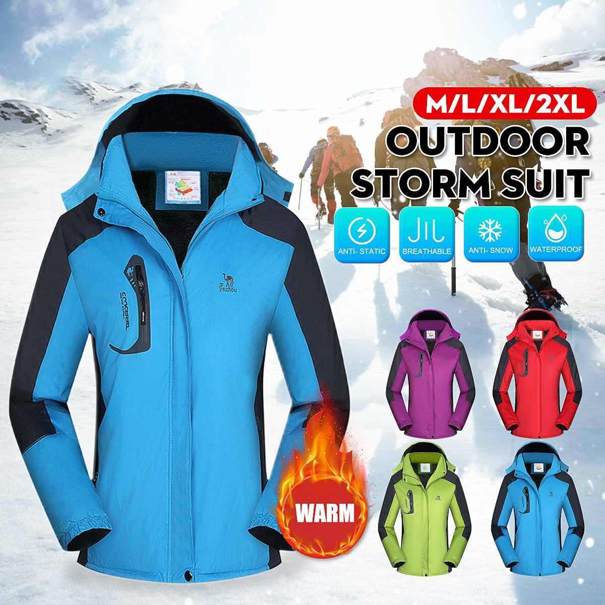 Tahan Air Ski Jaket Bulu Berjajar Salju Mantel Outdoor Hiking Snowboard Windproof Snowboard Bulu Jaket Musim Dingin Salju Pria