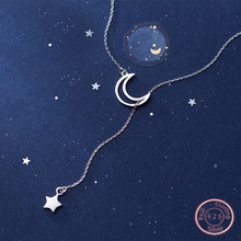 DXJEL 100% 925 Sterling Silver New Arrival Fashion Moon and Star Tales Chain Link Pendant Necklaces for Women Fine Jewelry Choker Necklaces Dropshipping Jewelry Accessories Collar Colar(China)
