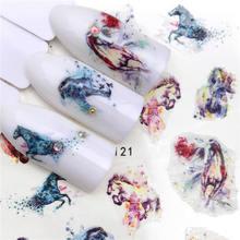 WUF 2020 New arrival naklejki do paznokci seria koni woda naklejka kwiat wzór w rośliny 3D Manicure naklejki naklejki do paznokci wody