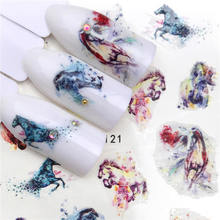 Wuf 2020 Nieuwe Arrivial Nail Stickers Paard Serie Water Decal Bloem Plant Patroon 3D Manicure Sticker Nail Water Sticker