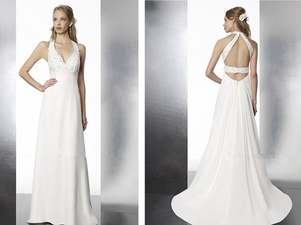 Summer Vestido De Noiva A-line Beading Lace Appliques Bridal Gown 2018 Hot Sexy Backless White Chiffon V-neck Bridesmaid Dresses