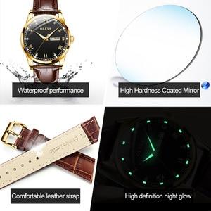 Image 3 - OLEVS Watch Men Brown Leather Quartz Auto Date Calendar Original Brand Waterproof Business Wristwatch Fashion Male