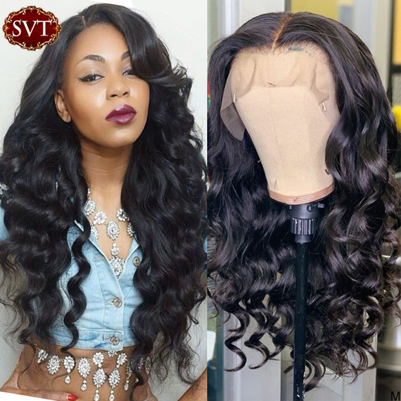 SVT Brazilian Loose Deep Wave Wig Natural Color 13x4 Lace Front Wigs For Black Women PrePlucked Human Hair Frontal Wavy Wig 180%