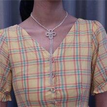 Модные новые блестящие ожерелья с подвеской в виде цветов Стразы