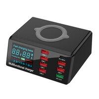 Cargador rápido multiusb de 100W con pantalla LCD, adaptador de corriente QC 3,0 PD de 8 puertos, estación de carga inalámbrica para teléfono inteligente y portátil