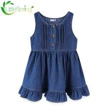 Littlespring/джинсовое платье для маленьких девочек; Платье