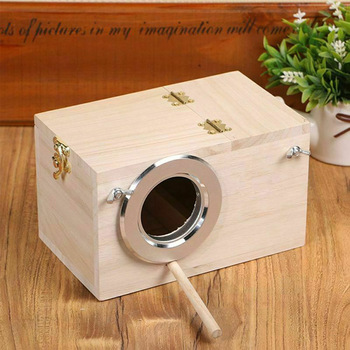 Wood Bird Breeding Box Bird House Nest Parrot Breeding Decorative Cages Pet Accessories Home Balcony Decoration