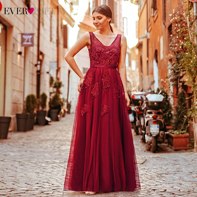 Ever Pretty Burgundy Prom Dresses A-Line Appliques Sequined Sleeveless Double V-Neck Tulle Elegant Party Gowns Gala Jurken 2020