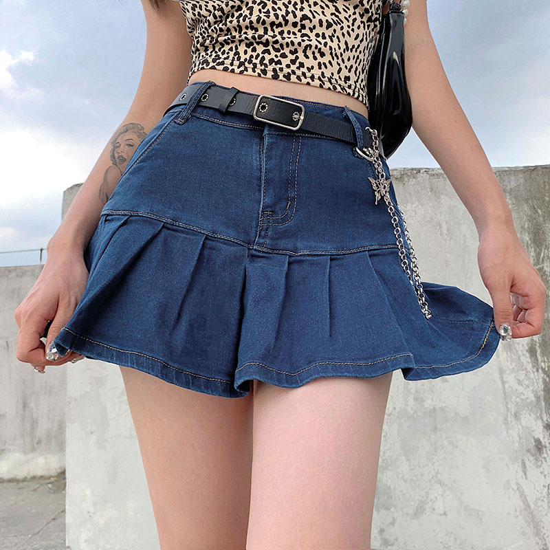 Harajuku в стиле «панк» Y2K джинсовая мини-юбка в складку женские летние джинсовые шорты с высокой талией юбки для женщин с оборками в Корейском с...