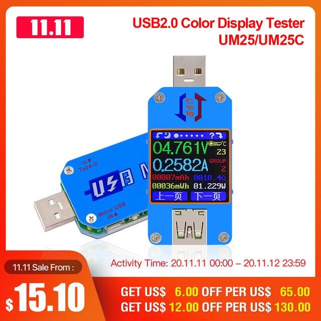 RD UM25 UM25C Cho Ứng Dụng USB 2.0 Loại C LCD Khuếch, Điện Máy Đo Pin Sạc Usb Bút Thử Điện