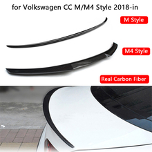 Real Carbon Fiber Car Rear Spoiler for Volkswagen CC M/M4 Style 2018-in Car Styling Refit Carbon Rear Wing Spoiler Tail Lip for infiniti g37 4door sedan rear spoiler wing lip car styling for g37 high quality carbon fiber rear trunk spoiler wing 2007 13