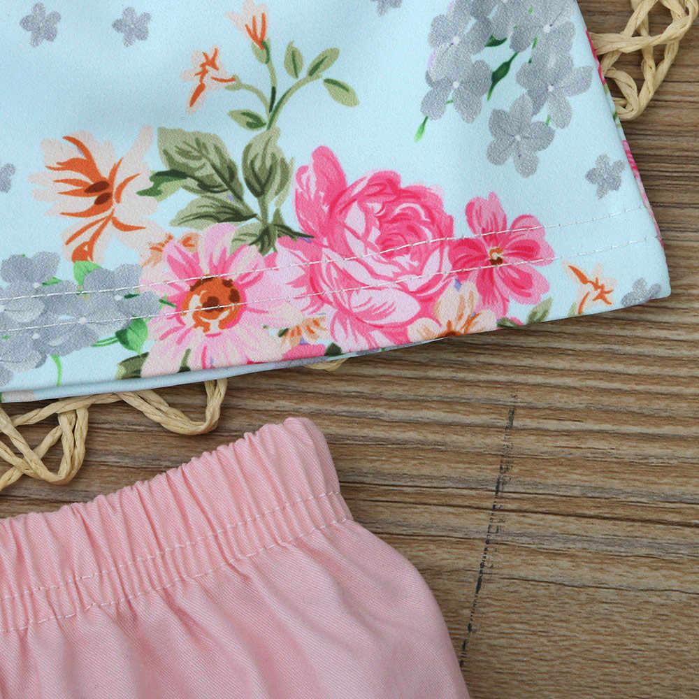 Ropa de moda para niña conjuntos para bebé de algodón con cuello redondo para niños y niñas con encaje Floral para bebés + Pantalones cortos conjunto de ropa conjunto