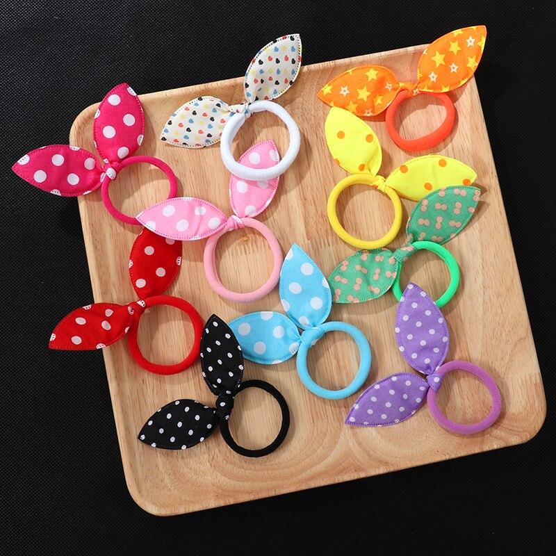 10Pcs Cute Rabbit ear Hair ring Girl Rubber band Elastic hair bands Baby Headwear Korean Children Hair Accessories Ornaments