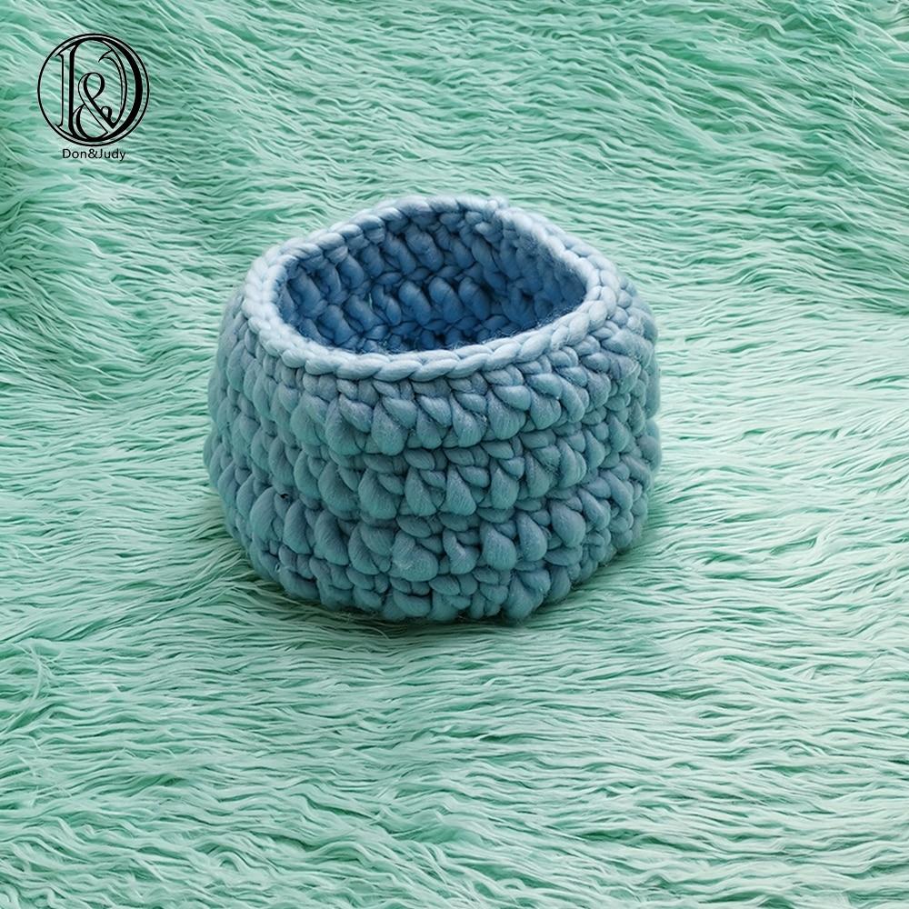 Don&Judy 2pcs Set Including Faux Fur And Basket Nest Photography Photo Prop Newborn Blanket Background Backdrop Rug Photo Prop