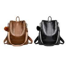 Retro Waterproof PU Leather Shoulder Bag AntiTheft Schoolbag Backpack for Women Girls Travel Use Supplies Birthday Gifts