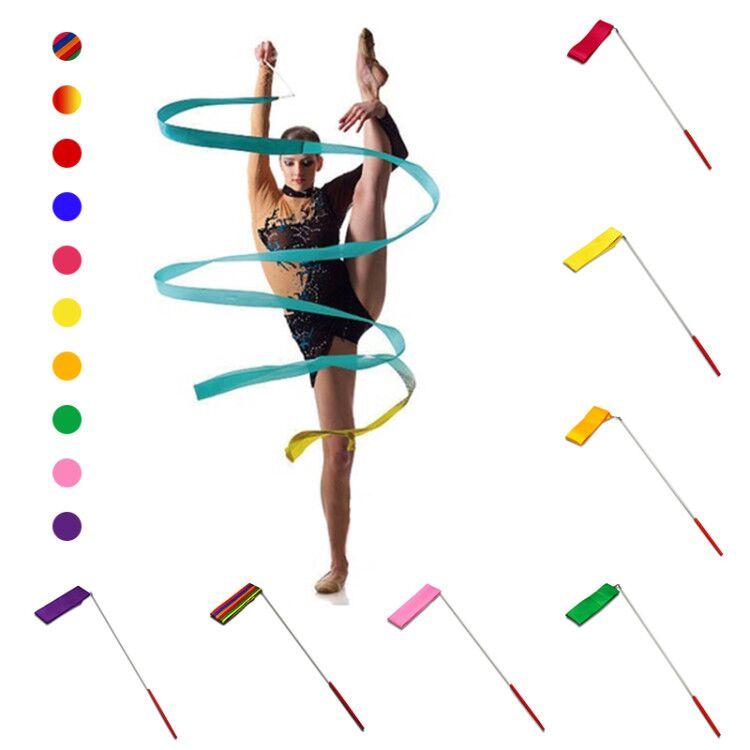 다채로운 2 미터 4 미터 체육관 리본 댄스 리본 휘트니스 리듬 아트 체조 발레 스 트리머 트윌 링로드 스틱 훈련 f
